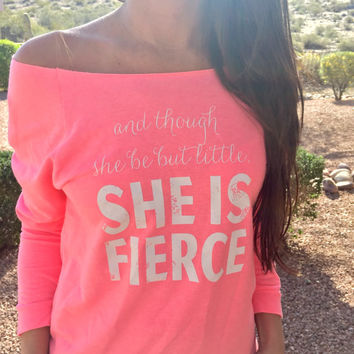 She is Fierce. She-is-fierce-shirt. She-is-little-but-fierce. Off The Shoulder. Workout Clothing. Cute Workout Clothing. Workout Apparel.