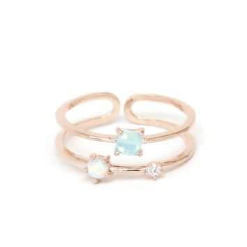 Three Stone Stacking Ring