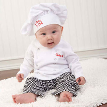 Baby's Sets 2016 Girls Boys Clothes Cotton Chef Hat +Long Sleeve Tops +Pants Party Halloween Costume Outfit Newborn Photos Props