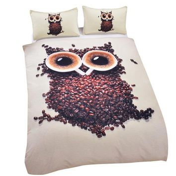 3D Cute Owl Bedding Set Single Size Coffee Beans Printed Duvet Cover with Pillowcases