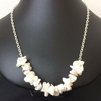 White Natural Shell Chip Necklace