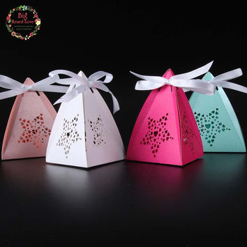 2016 New 50pcs star Candy Box Gift Box Party Show Favor Box wedding box Baby Shower party supplies wedding decoration