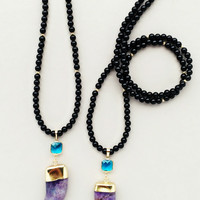 Amethyst Horn Necklace - 18K Gold Plated