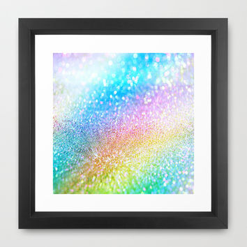 rainbow glitter Framed Art Print by Haroulita