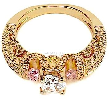 Pink and Clear  Stones Engagement Cz 8KTS of Gold Plated Ring