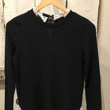Navy Long Sleeve Sweater W/Lace Hem