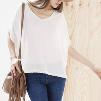White V-Neck Short Sleeve Top