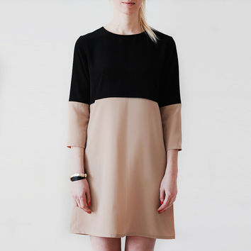Next Dimension color block mini dress\Color block minimalistic dress\black and bej\shift woman dress\spring autum\long sleeve dress