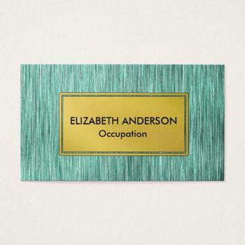 Contemporary Sea Green Faux Scratched Metal Business Card