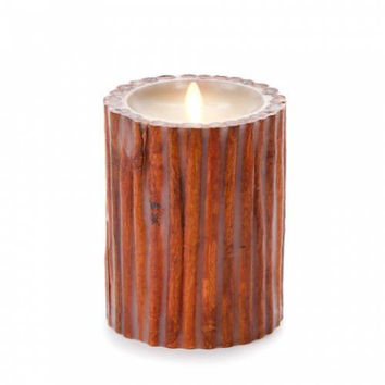 "5"" Real Cinnamon Sticks Embedded Pillar Candle - Unscented"