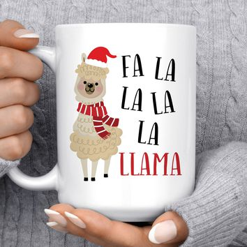 Coffee Mug | Fa La La La La Llama | Christmas Mug | Holiday Mug | Christmas Gift | Funny Mug | Christmas Llama Mug | Stocking Stuffer