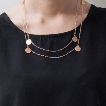Simple adjustable Rose Gold minimalist dainty long neklace