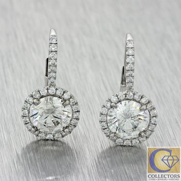 Womens 18k White Gold 19mm 3.02ctw Diamond Halo Drop Leverback Earrings J8