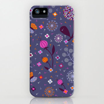 Blue Floral Dandelion Phone Case