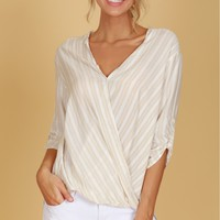 Striped Wrap Blouse Taupe