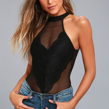 Not So Secret Black Lace and Mesh Bodysuit