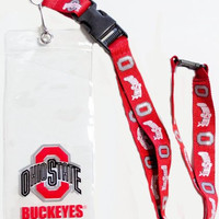 Officially Licensed NCAA Clear Ticket Holder Lanyard (Ohio State Buckeyes)