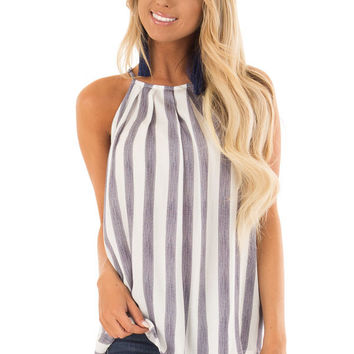 Navy and White Striped Tank Top with Button Down Back
