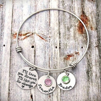 Alex Ani Bracelet Style - Mother Bracelet - Personalized - Adjustable - Birthstone - I'll Love You Forever I'll Like You For Always