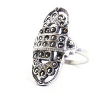 SALE - Sterling Silver Marcasite Ring - Vintage Size 7 Costume Jewelry / Art Deco Style Statement
