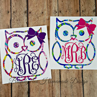 Cute Owl Monogram, Car Decal, Vinyl Decal, Yeti Cup Monogram, Personalized Gift, Monogrammed, iPhone Decal, Lilly Pulitzer Inspired, Paisley