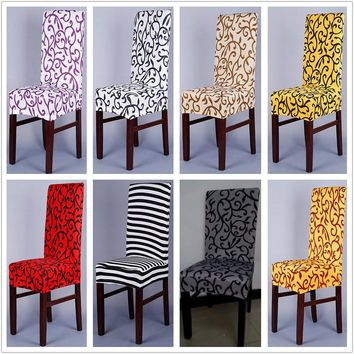 Sure Fit Soft Stretch Spandex Pattern Chair Covers For Kitchen Chair Short Dining Chair Cover Purple Grey Champagne HGTXTBCR006