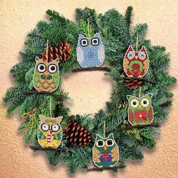 "Owl Ornaments Counted Cross Stitch Kit 3""X3"" 14 Count Set Of 6"