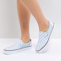 Vans Slip On Trainers In Pastel Blue Checkerboard at asos.com