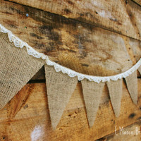 BURLAP and LACE Burlap Bunting, Banner, Photo Prop, Wedding Decor