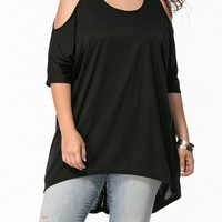 Casual Open Shoulder High-Low Plain Plus Size T-Shirt