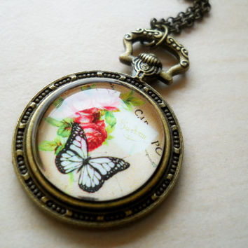 Glass pendant, butterfly pendant, roses pendant, pocket watch pendant, glass jewelry, antique brass chain necklace, glass dome cabochon