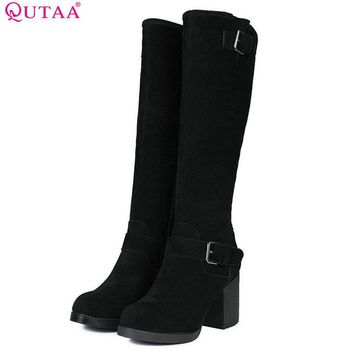 QUTAA 2018 Women Knee High Boots Zipper Design Square High Heel Round Toe Westrn Style Black Women Afshion Boots Size 34-39