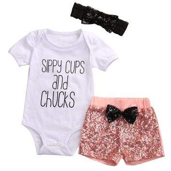 Sippy Cups & Chucks Baby Girl Short Sleeve Top & Sequin Pants Outfit