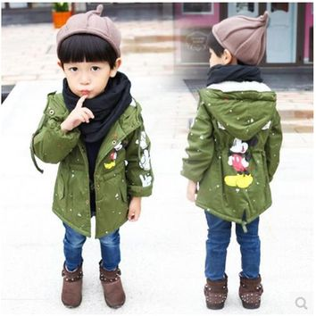 Free shipping!Children's coat, 2017 new baby boy and girls winter cartoon mickey thicking brushed warm Windbreaker coat