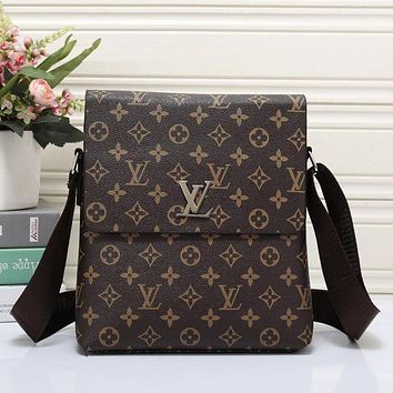 Louis Vuitton Men Office Bag Leather Satchel Shoulder Bag Crossbody
