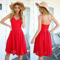 Summer Spaghetti Strap Hollow Out Backless Beach Dress Vacation One Piece Dress [4966226756]