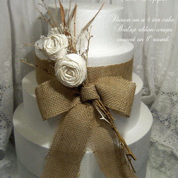 Burlap Bow & Flower Spray Cake Topper.