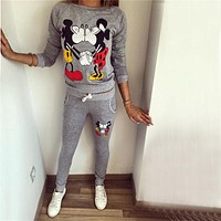 2019 spring Winter women ladies long sleeve KISS mickey & Minnie Print Sweatshirts Sets pullover fleece Tracksuits clothes