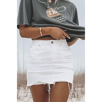 PISTOLA Sierra High Rise White Denim Skirt