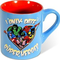 Silver Buffalo MC4132 Marvel Comics  - I Only Date Superheroes - Ceramic Mug, 14 Ounces, Multicolored
