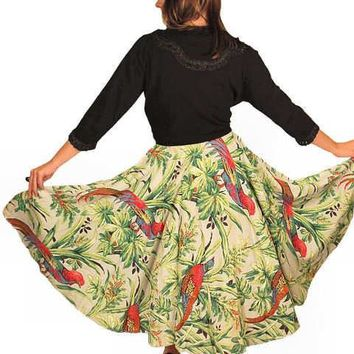 Vintage Circle Skirt Large Scale Print Bark Cloth Super 1940S Small