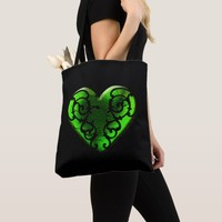 Filigree Goth Green Heart Tote Bag