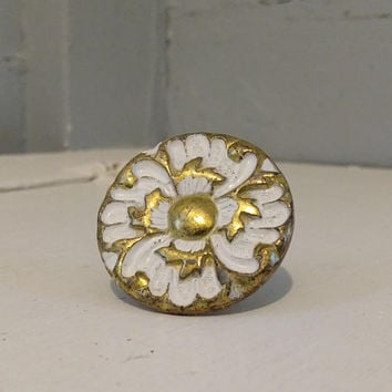 Vintage, Furniture, Hardware, Drawer Pulls, Cabinet Knobs, Round, Metal, Floral Design, Brass Color, White, RhymeswithDaughter
