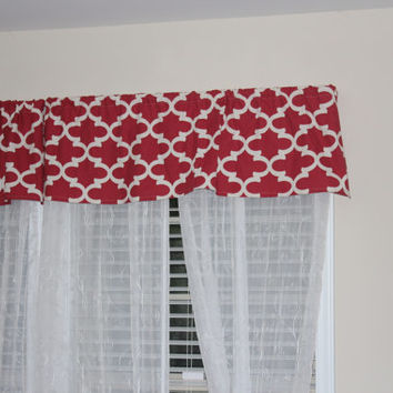 Red Geometric Valance For The Home