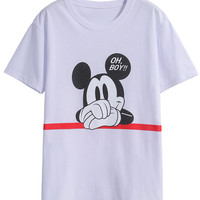 White Mickey Print Short Sleeve Graphic T-Shirt