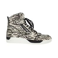 Dolce & Gabbana White Black Pony Hair High Sneakers