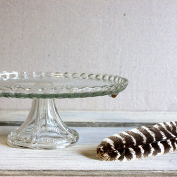 pressed clear glass cake stand vintage wedding special occasion