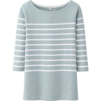 WOMEN PURE BLUE JAPAN STRIPE CREW NECK 3/4 SLEEVE LENGTH T | UNIQLO