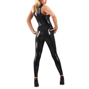 Black Latex Catsuit Rubber Girl's Sleeveless Bodysuit Sexy Leotard Front Zipped