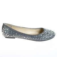 Clore10 Pewter By Bamboo, Ballet Flats with Iridescent Studs